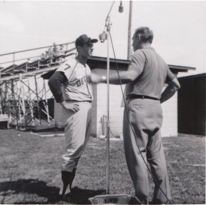 Babe interviews Rocky Calavito during spring training of 1961.